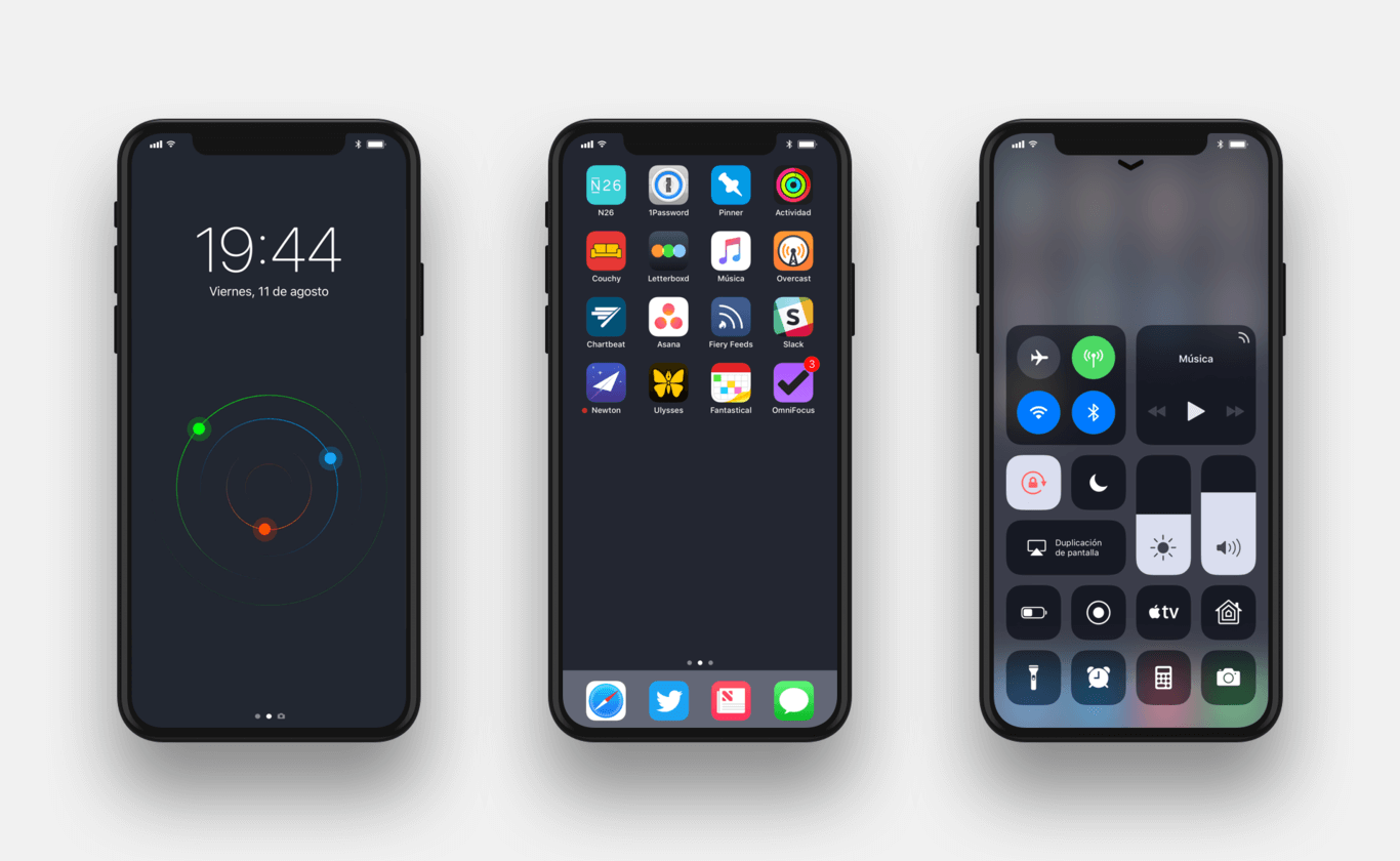 Lock screen, Home Panel and Control Panel mock up iPhone 8