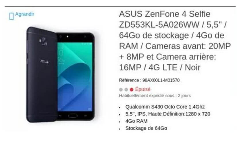 Specifications about Asus' upcoming ZenFone 4 smartphones leaked on the company's e-store and GFXBench.