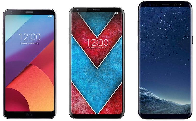 LG V30 size comparison vs LG G6 (left) and Samsung Galaxy (right)