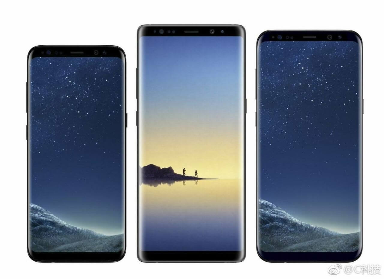 From left to right- the S8, Note 8 and S8+