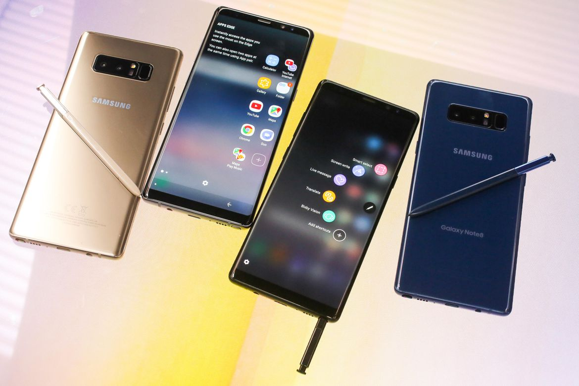 Samsung Galaxy Note8 front and Back profile