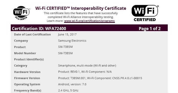 Samsung Galaxy Tab A 8.0 Wi-Fi Alliance