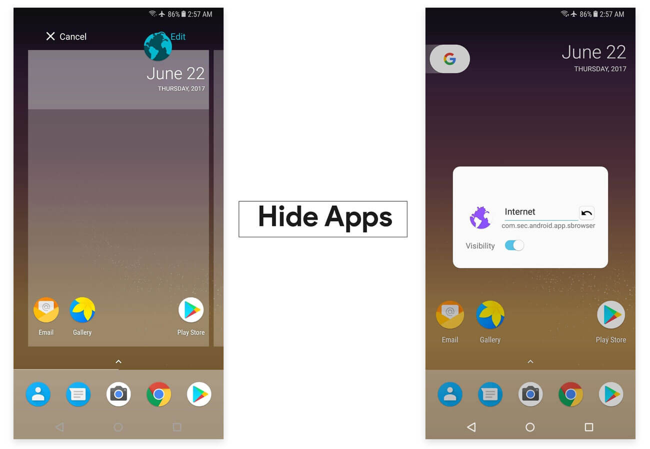 Hide Apps in Google Pixel launcher APK with Google Now and icon pack no root requried