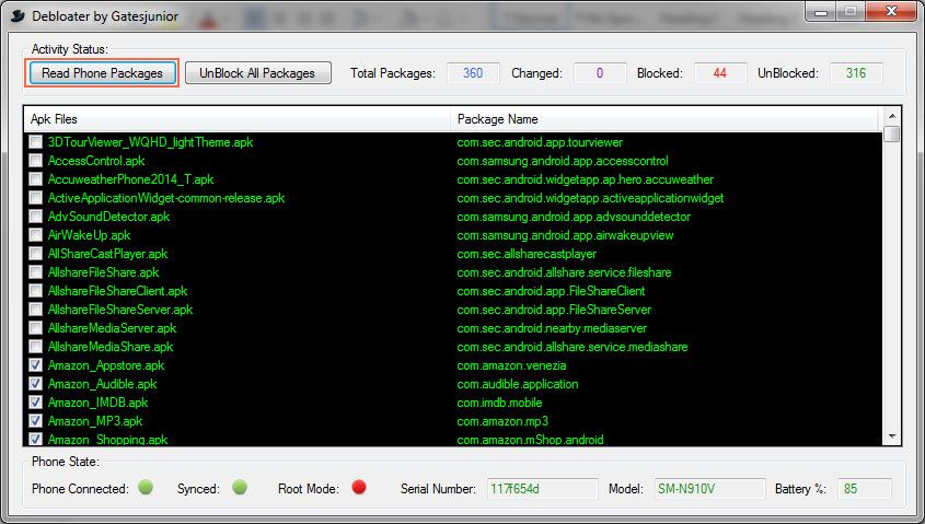 Android Debloater Read all phone App packages