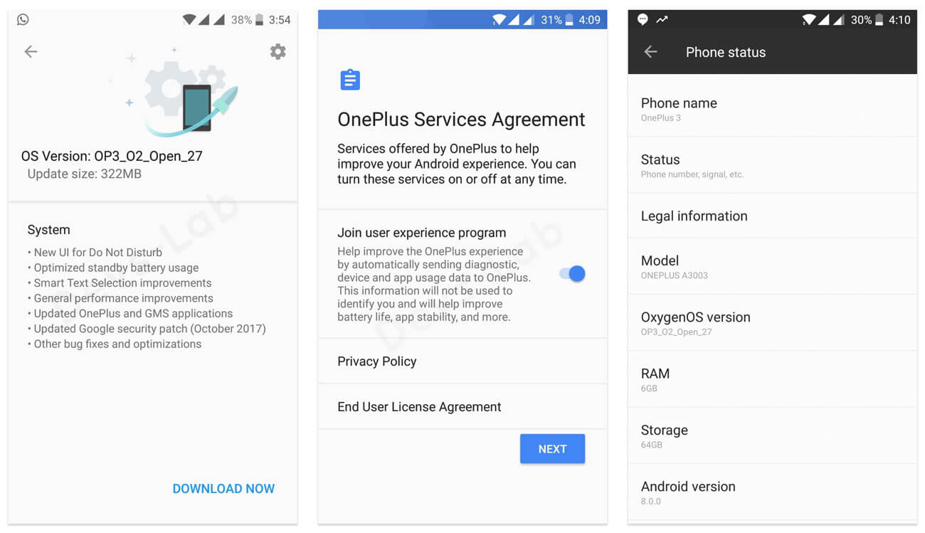 OnePlus 3 and 3T OxygenOS Android Oreo Beta 27 and 18 update