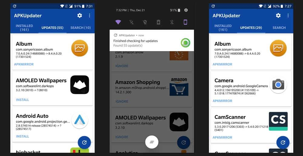 APKUpdater allows users to update & download apps without