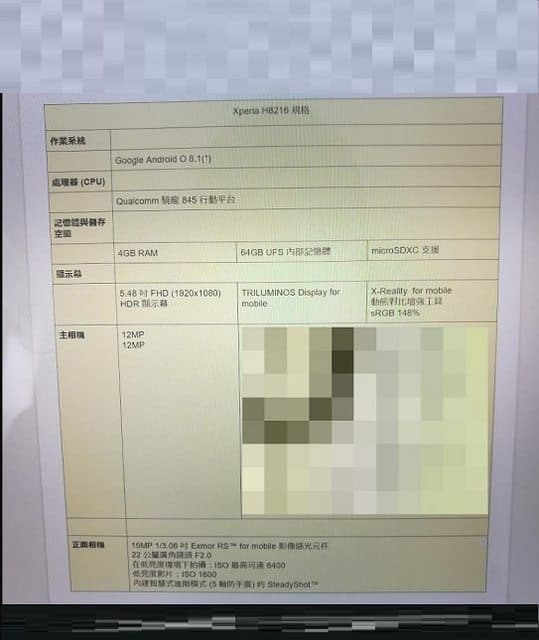Sony H8216 leaked with Snapdragon 845 and dual rear cameras