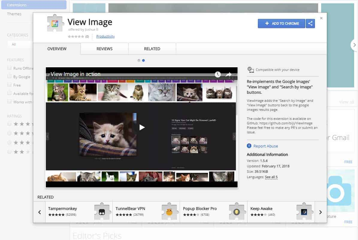 "the ""View Image"" and ""Search by image"" buttons back into Google Image Search."