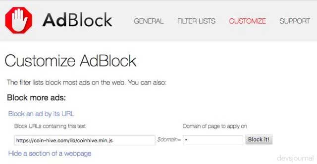 Disable website to prevent cryptocurrency minning using Adblock