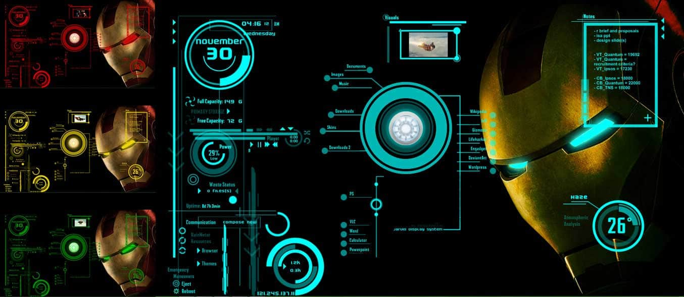 Ironman Jarvis Rainmeter theme for Windows