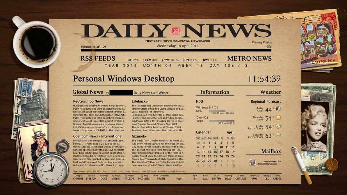 Newspaper Desktop theme