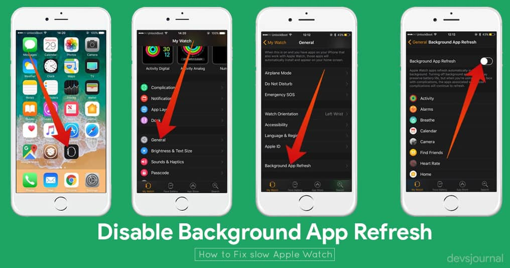 Disable Background App Refresh in Apple watch