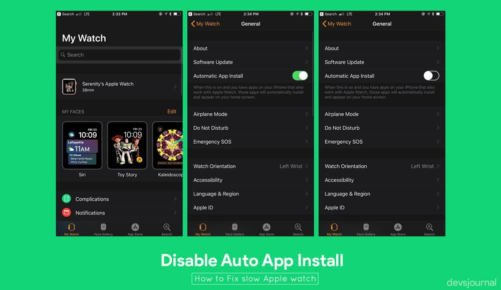 How to disable Auto App install in Apple watches