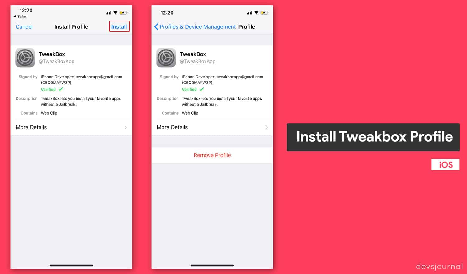 Install tweakbox Developer Profile to install modded Apps in iOS device