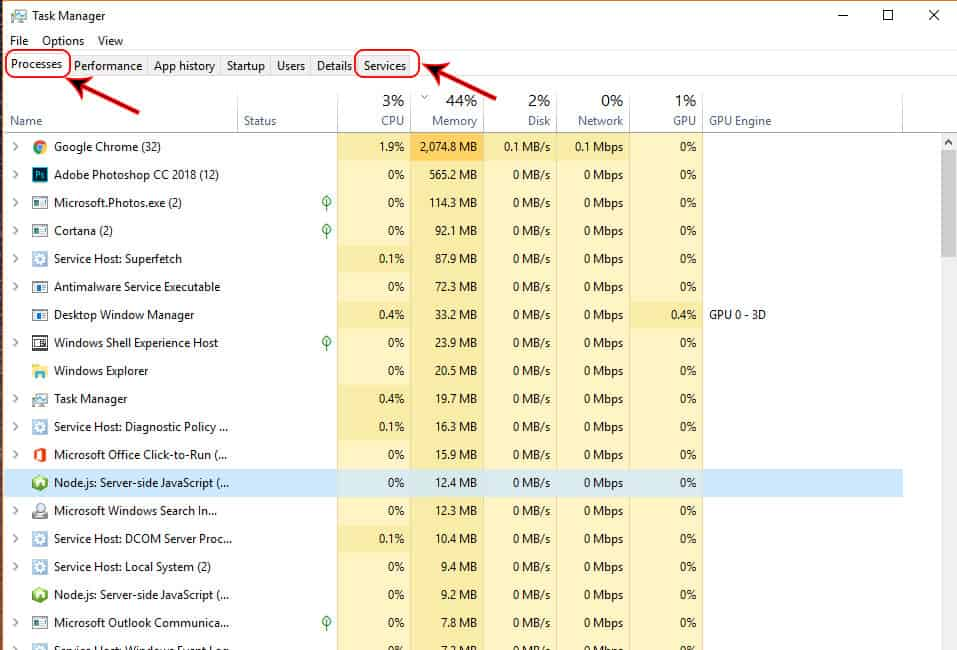 Process and Service tabs in Task Manager