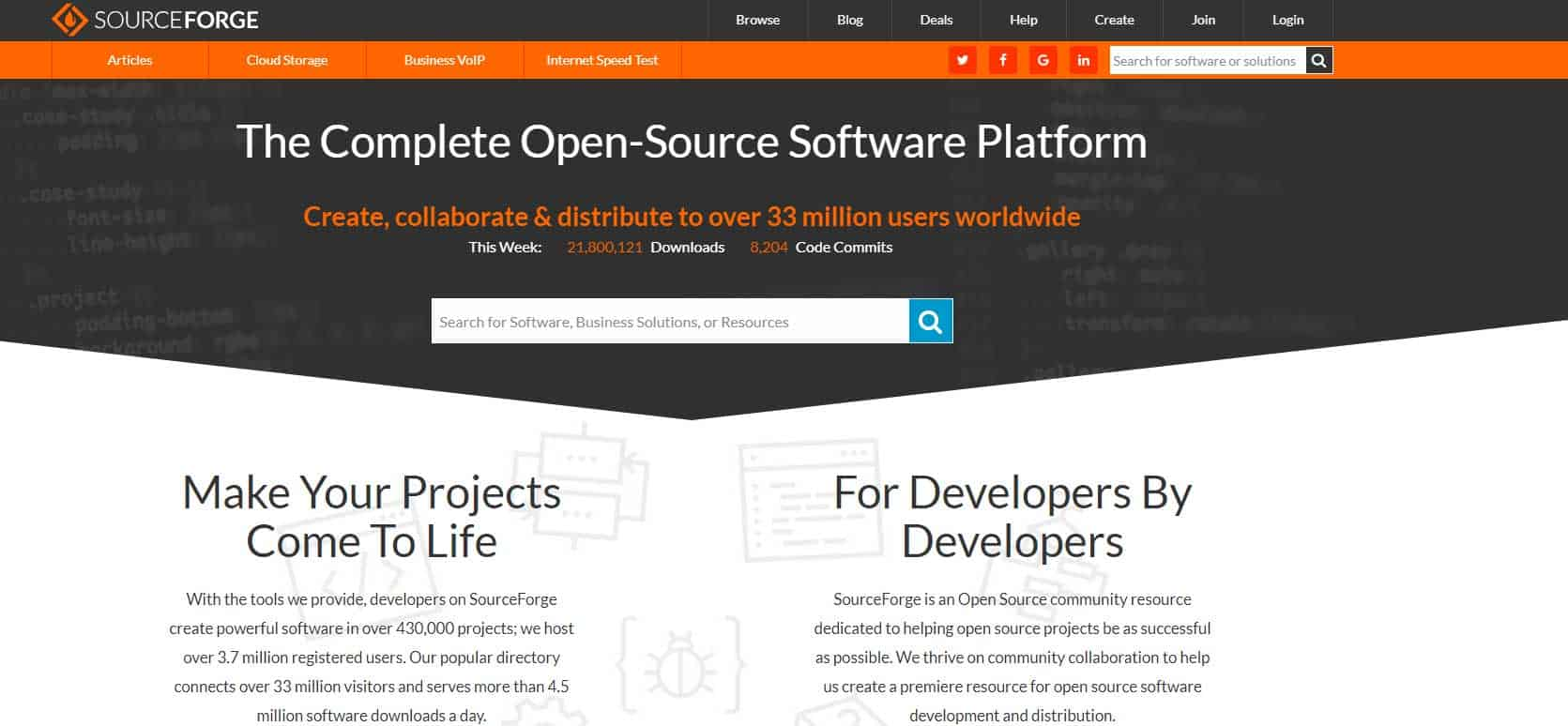 SourceForge top sites to download free softwares