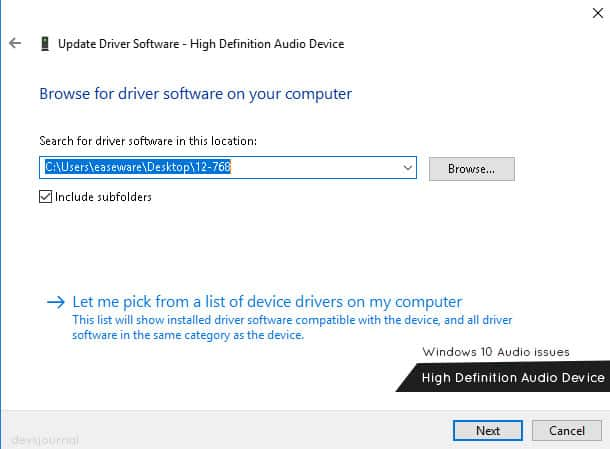 Windows 10 Sound no work High Definiton Audio device Drivers