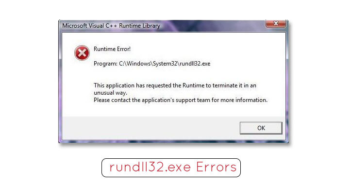 rundll32.exe system and application errors