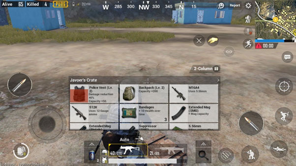 PUBG Player Backpack Inventory