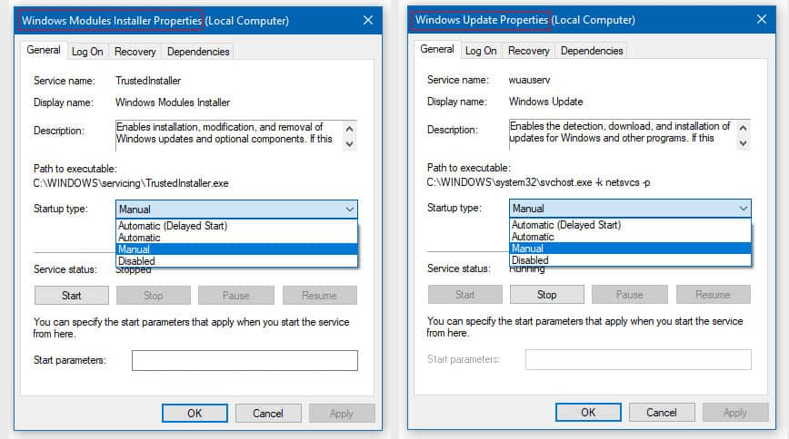 Change Windows Modules Installer Worker to Manual Startup