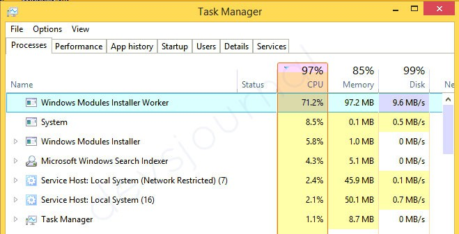 Windows Modules Installer Worker High CPU Usage Fix