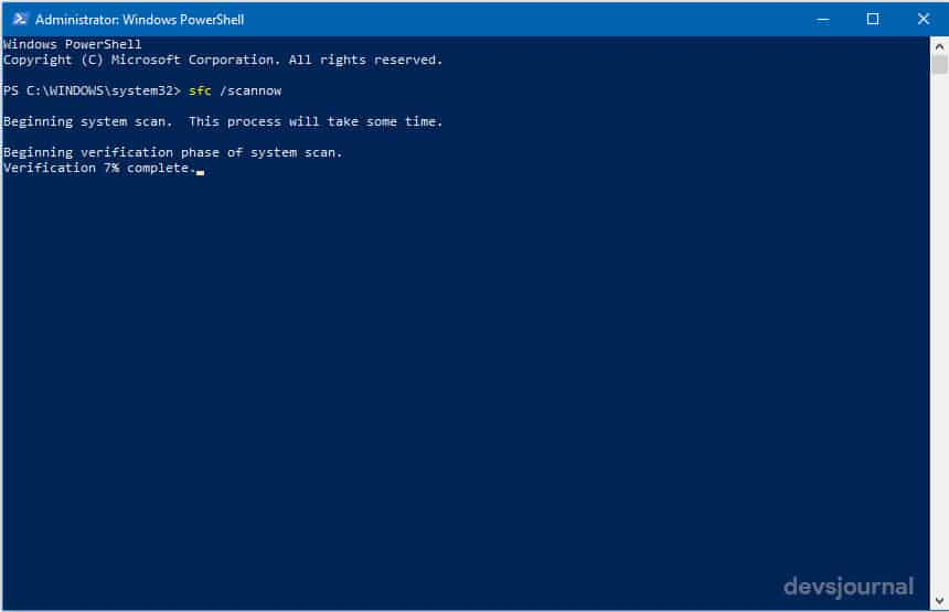 Windows Powershell scf Scannow to fix start menu corrupt files