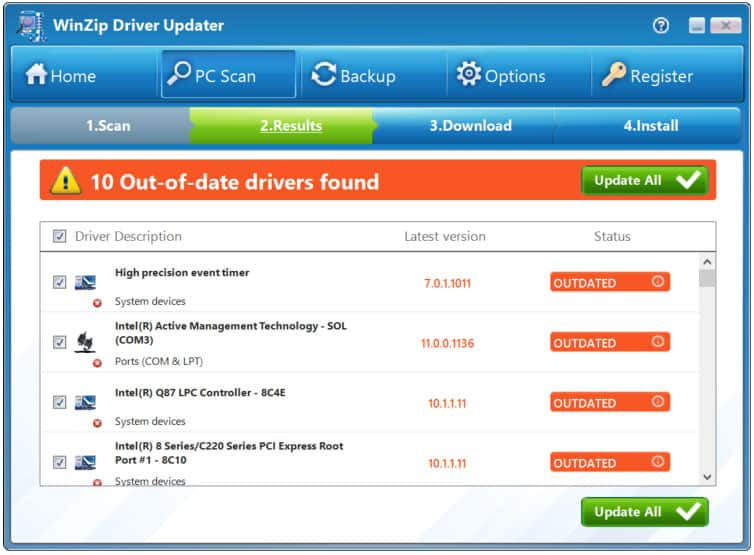 Winzip Driver updater Software