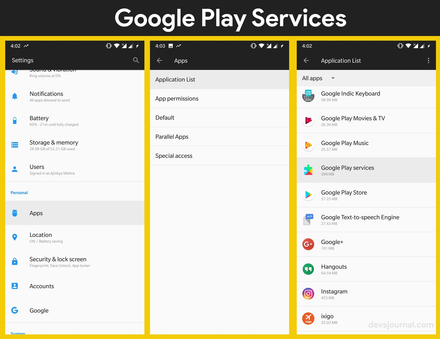 Find Google Play Store and Play Services in Android Settings