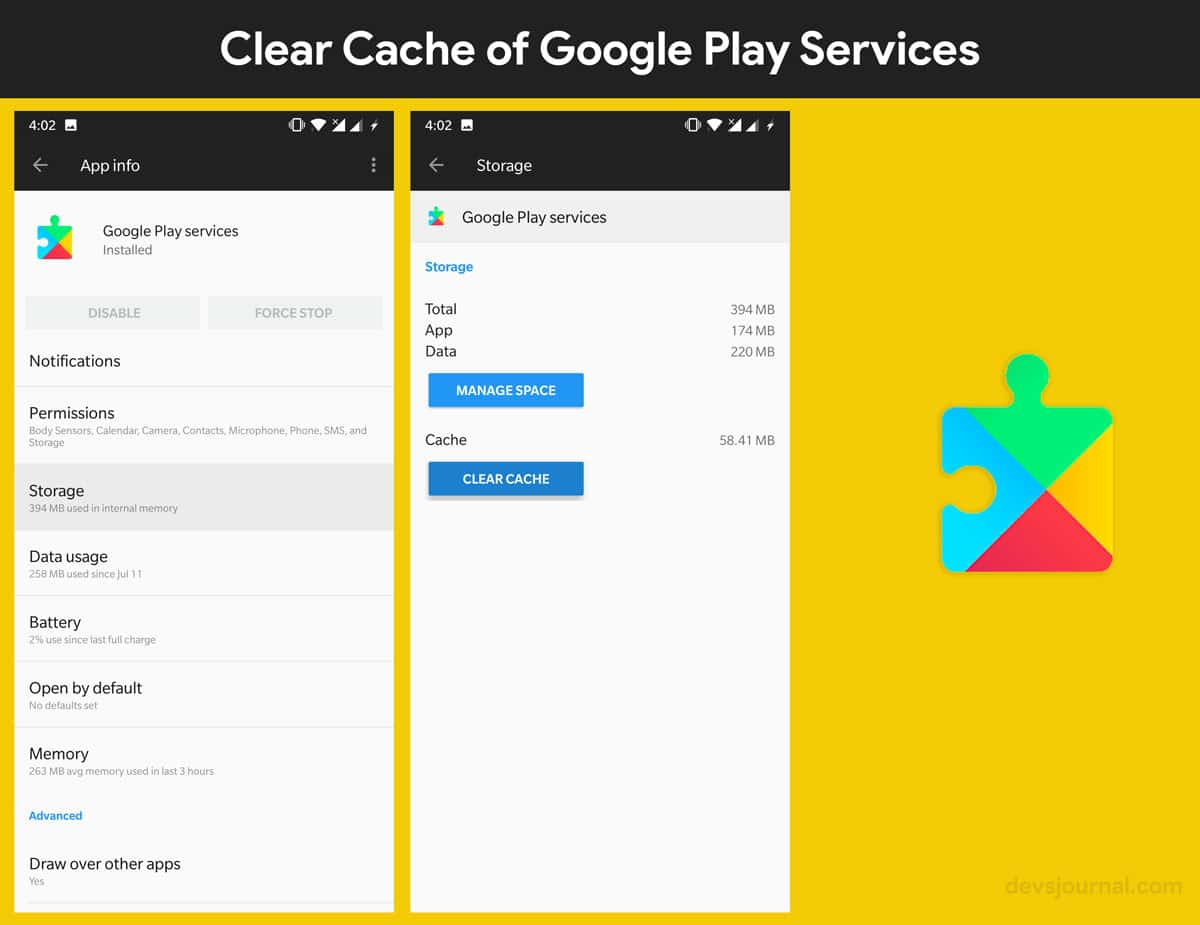 How to clear Cache of Google Play Services