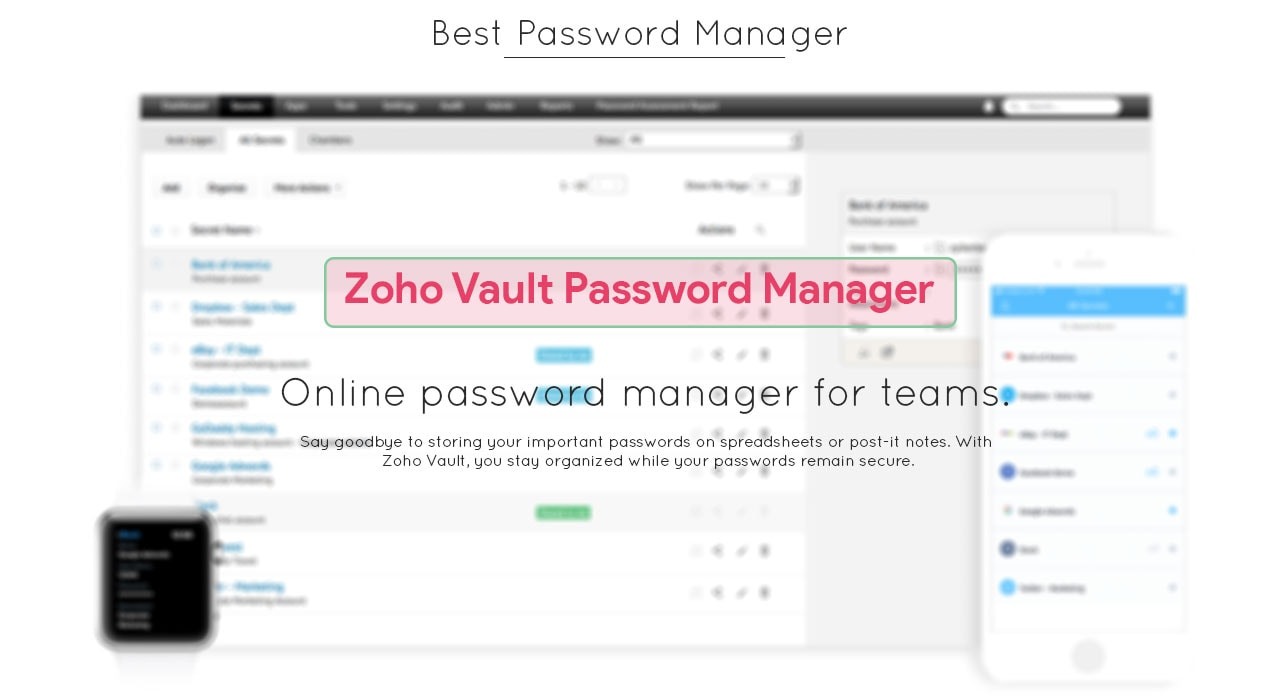 Zoho Vault Password Manager for Business Apple Windows