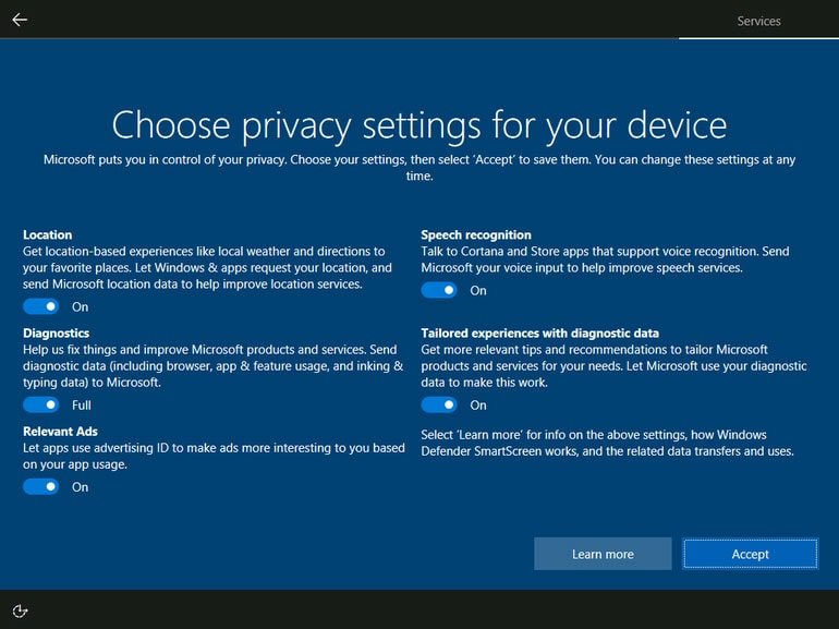 Windows 10 Reconfigure OS to Protect privacy and ADS Targeting
