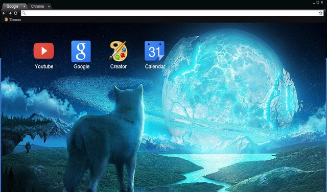 Wolf and the Ice Planet Google Chrome theme 2018