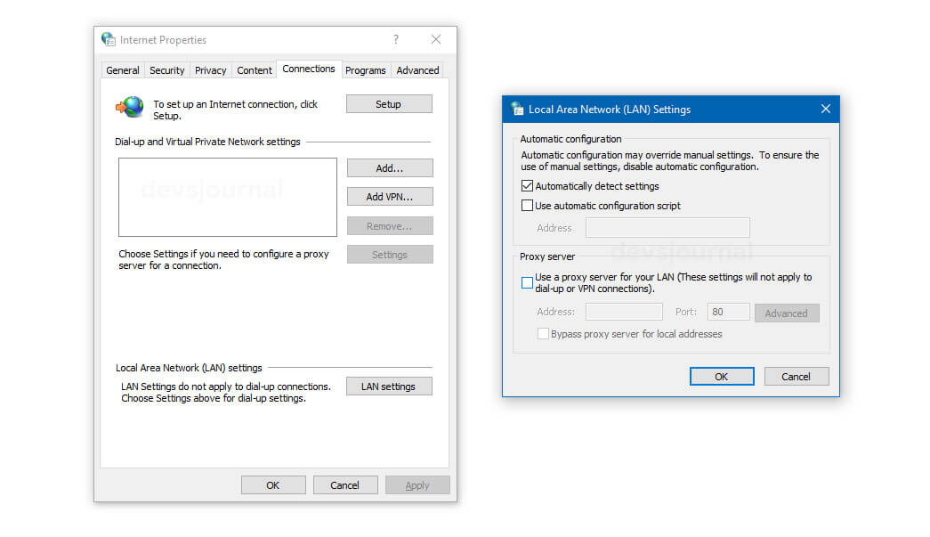 Disabling Proxy Server in Windows to fix Windows could not automatically detect this network's proxy settings