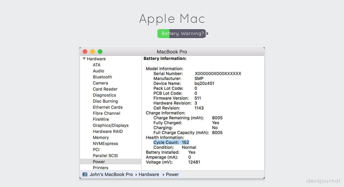 How to Check Macbook Cycle count
