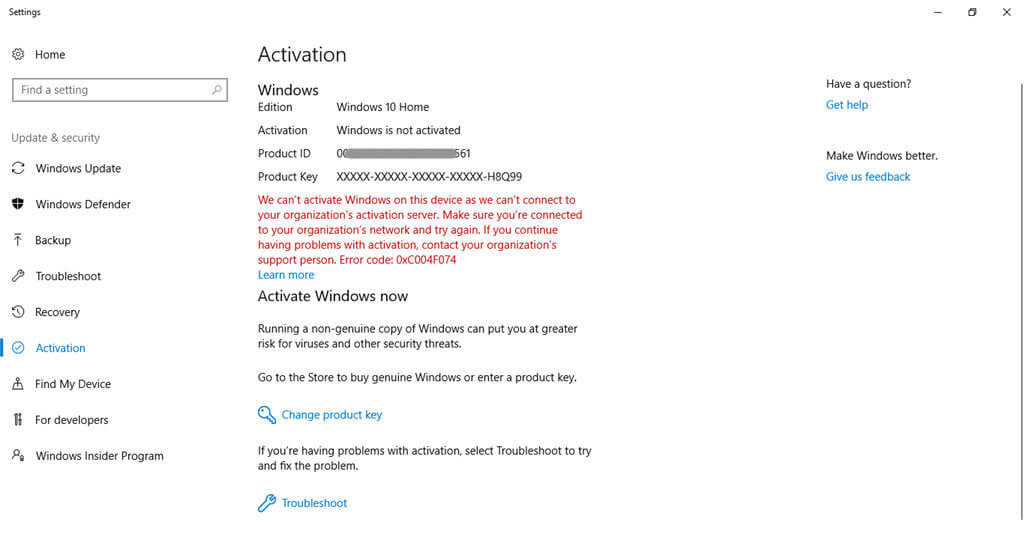 Windows 10 Enterprise Activate error gives Activate windows watermark