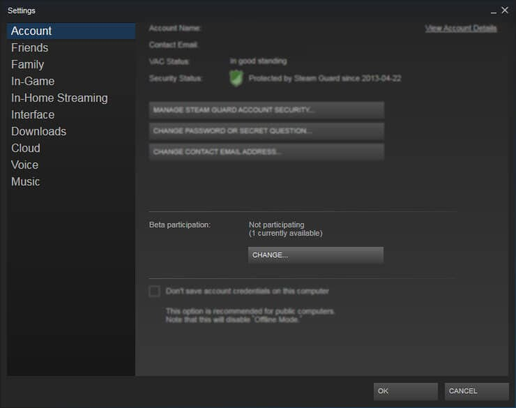 Disable Steam Beta participation
