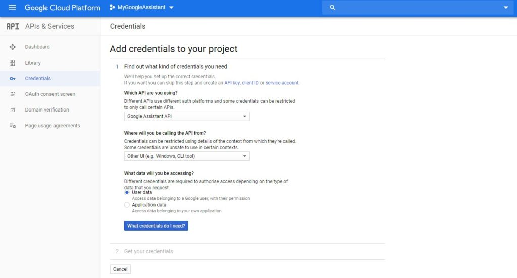 how to add credentials to google project api