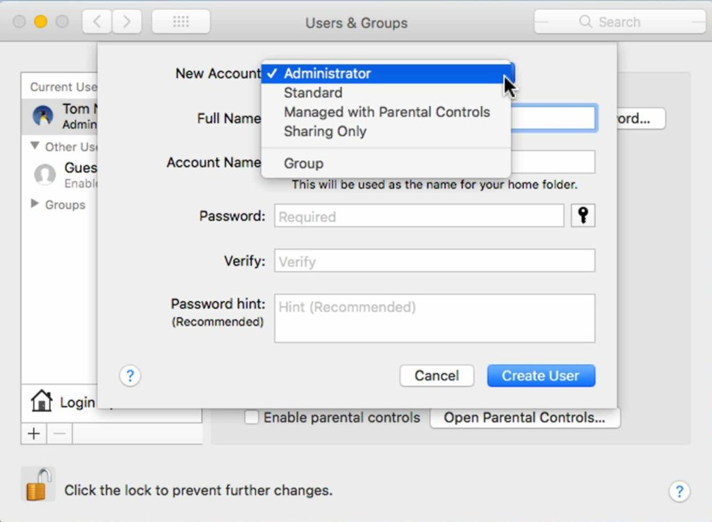 how to create new admin account on mac