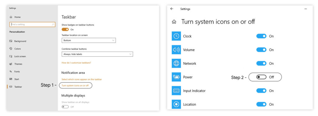 How to enable Missing battery icon in Windows 10 Taskbar