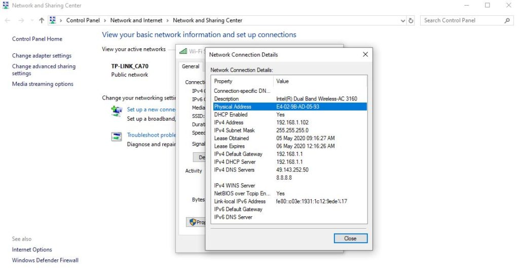 how to find a mac address on windows 10