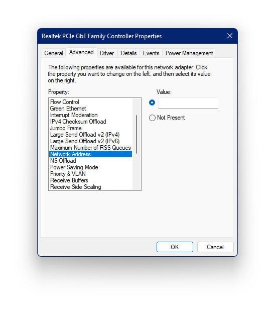 Assign a MAC address in Windows 11