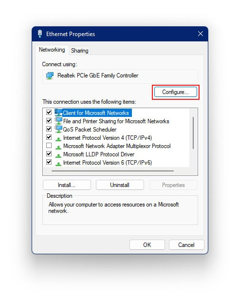 ethernet doesn't have a valid ip configuration in windows 11