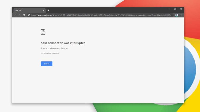 How to Fix Chrome Error err_network_changed in Windows 10