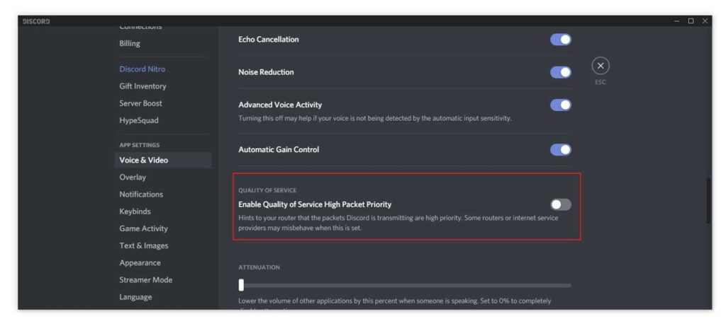 Disable Quality of Service High Packet Priority in Discord