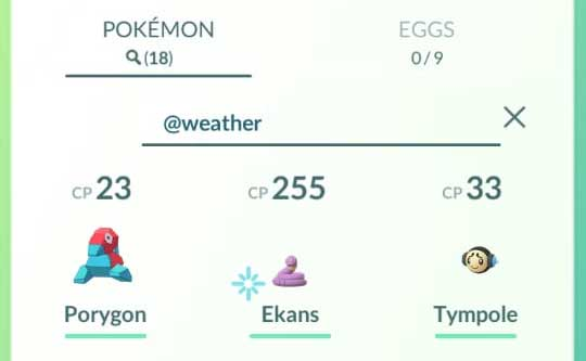 Search Pokemon with Weather Boosted move