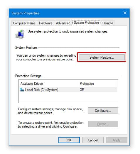 System Restore to Fix Error 28