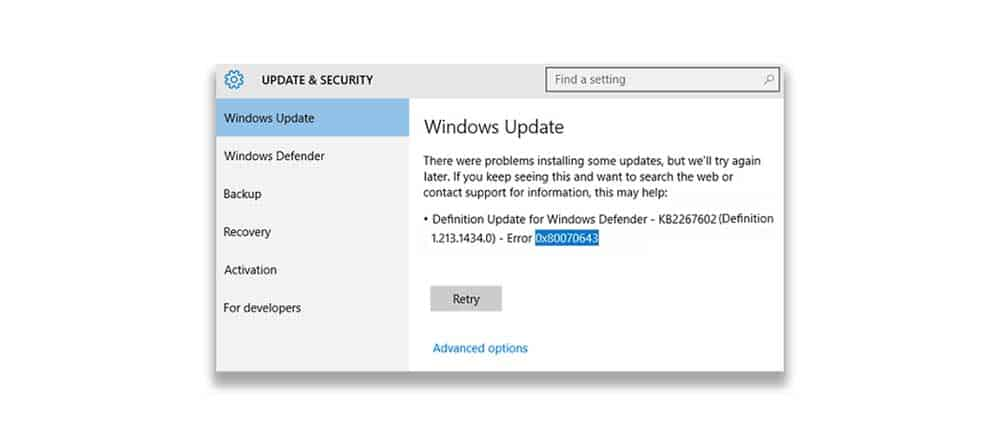 Windows update Error 0x80070643