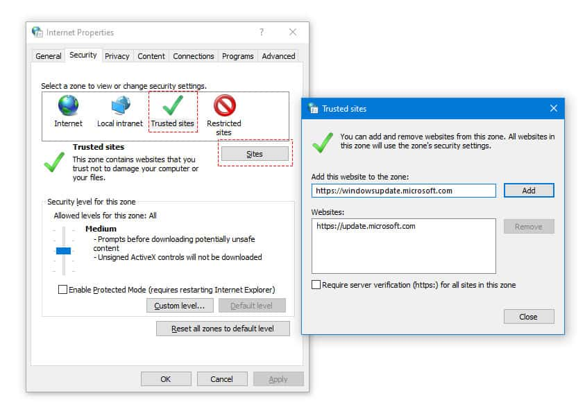 Add Update Server as Trusted Websites
