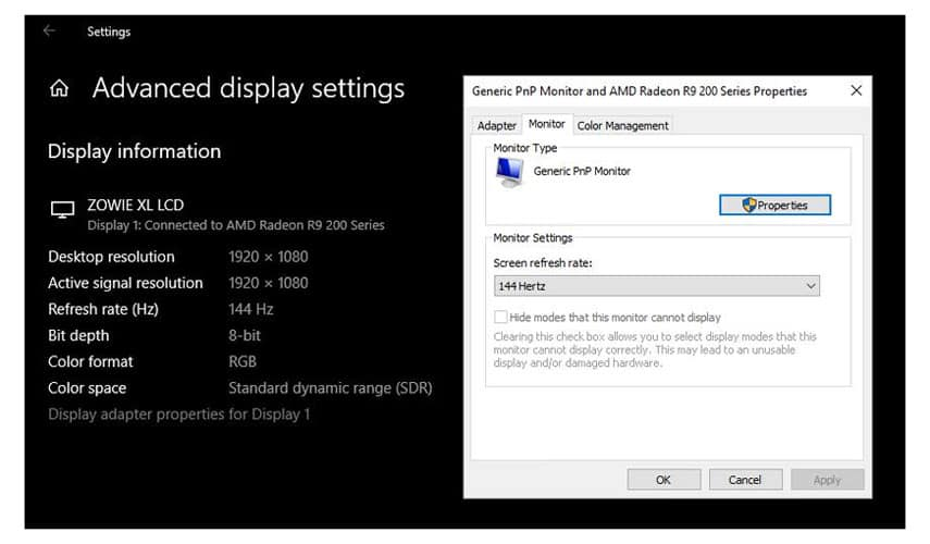 How to Enable 144Hz on Windows 10