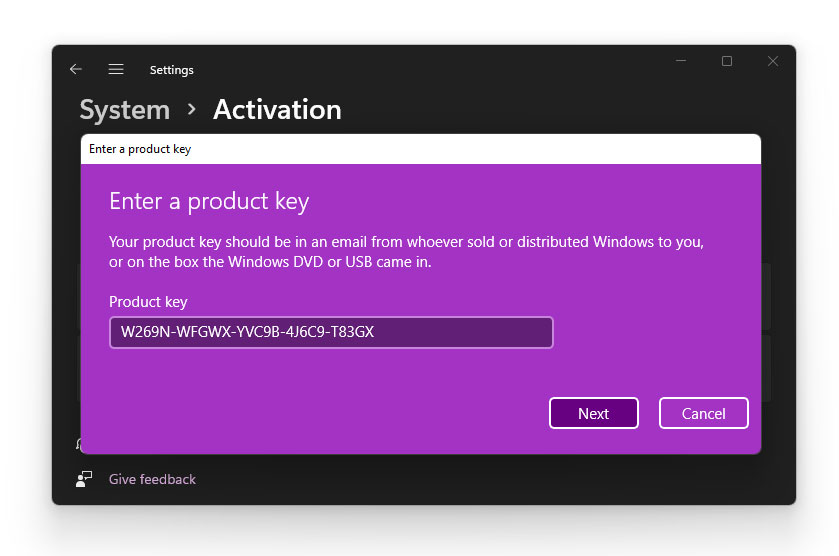 Activate Windows 11 With A Product Key